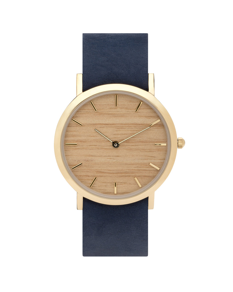 Minimal wristwatch with genuine silverheart wood dial face with premium navy leather nato styled strap