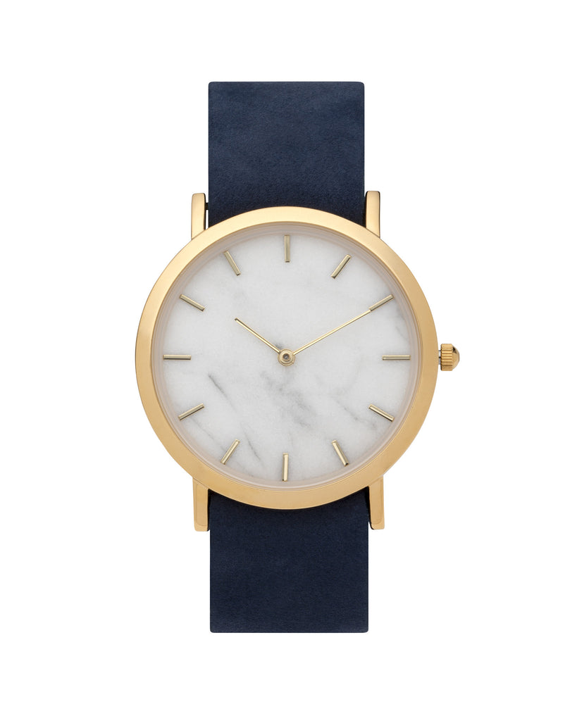 Unisex wristwatch with genuine white marble dial face and a premium navy leather nato style strap