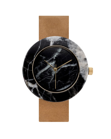 Solid black marble circular watch with gold finishing and premium leather strap