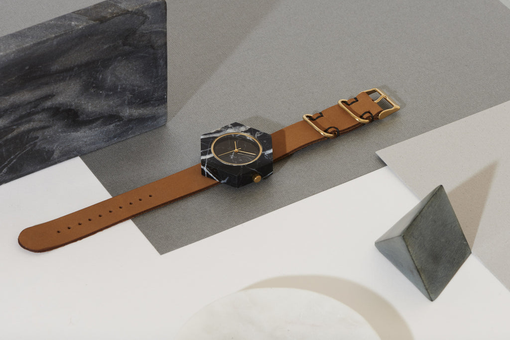 Solid black marble hexagon watch with gold finishing and premium tan leather strap