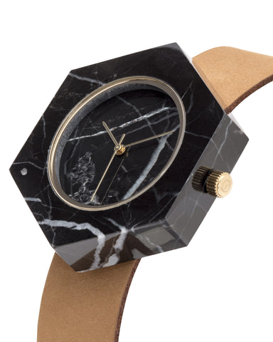 Black Marble Hex Mason Watch - Analog Watch Co.