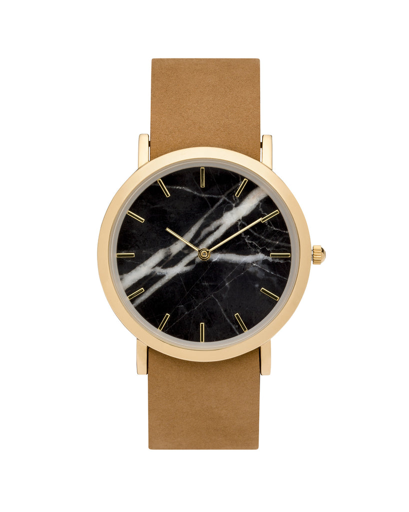 Wristwatch with genuine black marble dial face, gold finishing and a premium tan leather strap