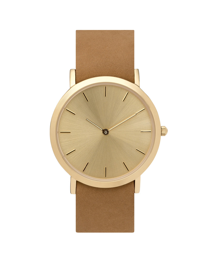 Unisex wristwatch with minimal gold dial face and premium tan leather nato style strap