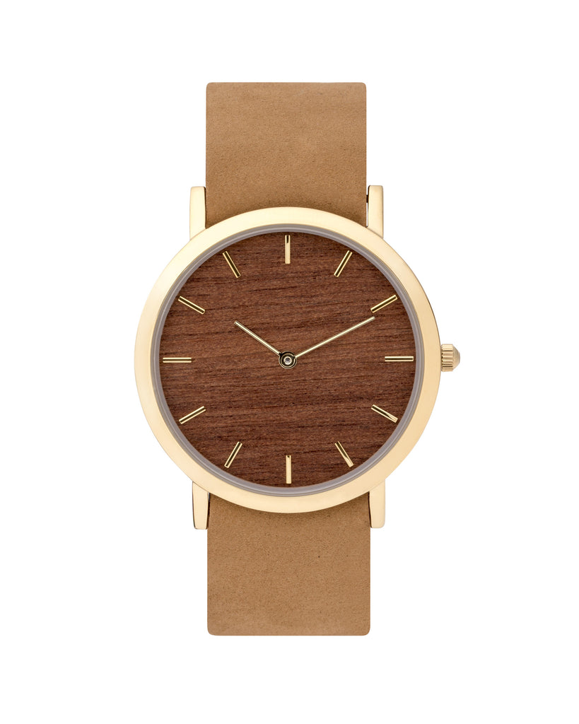 Unisex wristwatch with genuine makore wood dial face and premium tan leather nato styled strap