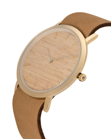 Minimal wristwatch with genuine silverheart wood dial face with premium tan leather nato styled strap