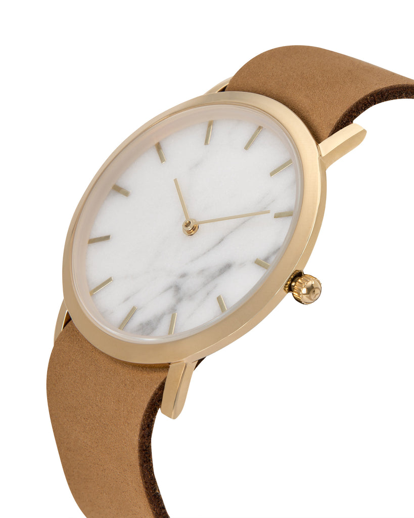 Unisex wristwatch with genuine white marble dial face and a premium tan leather nato style strap