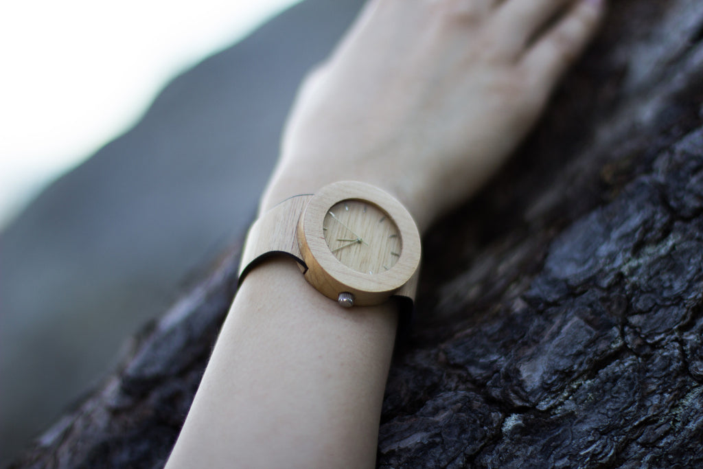 Genuine silverheart and maple wood watch for the everyday outdoor lover