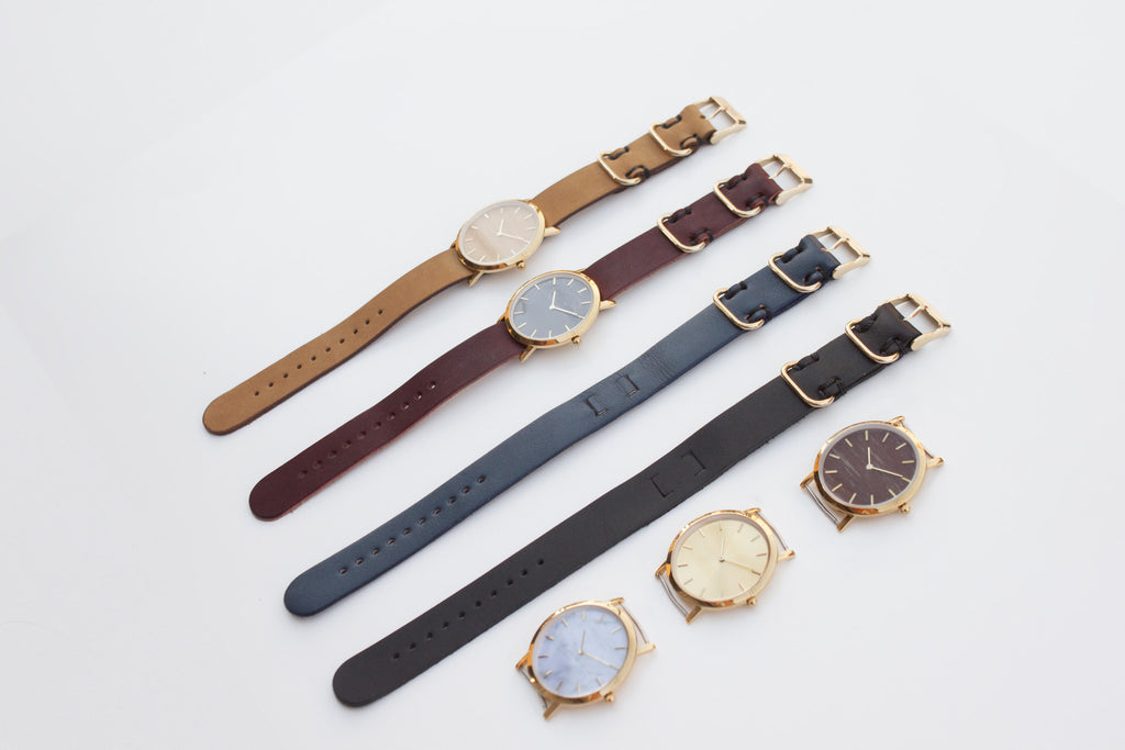 Minimal wristwatches with nato style straps
