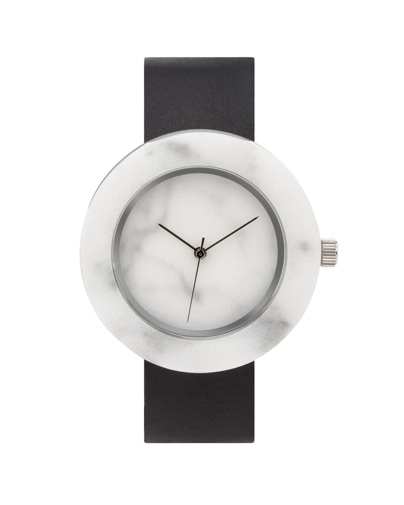 Unisex solid white marble circular watch with silver finishing and premium black leather strap