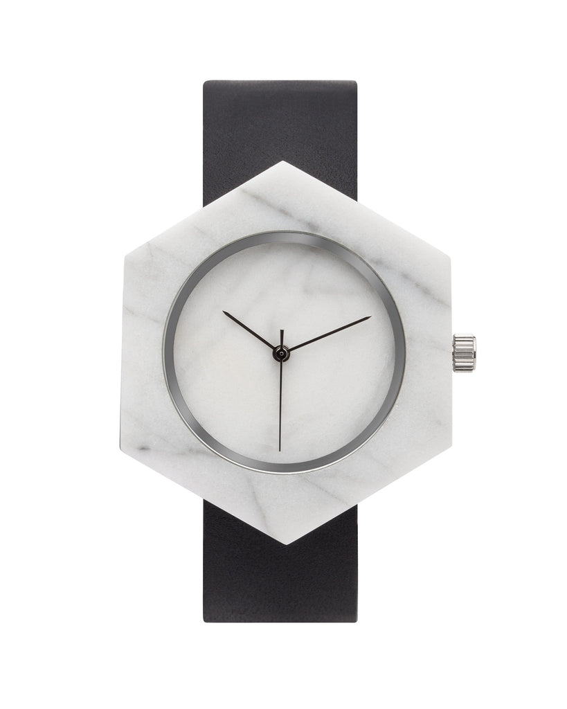 Unisex solid white marble hexagon watch with silver finishing and premium black leather strap