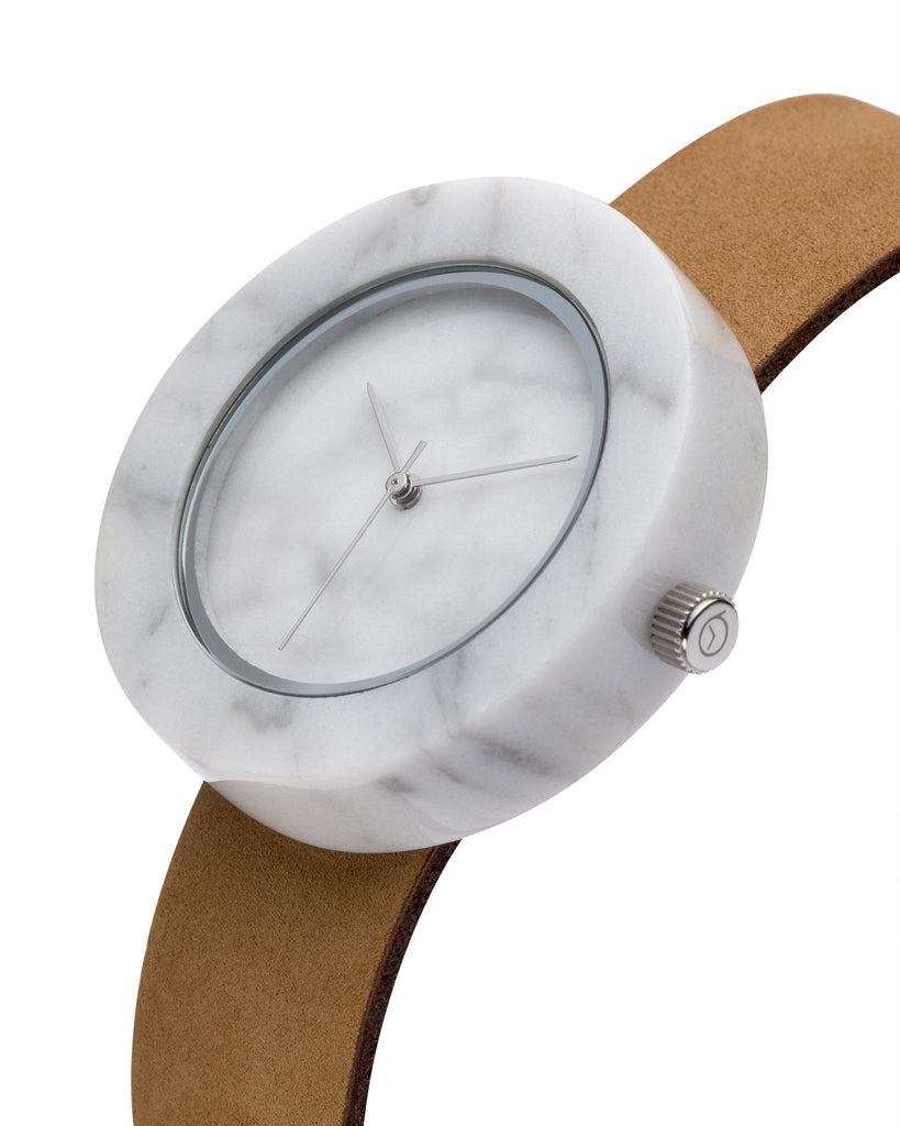 White Marble Circle Mason Watch - Analog Watch Co.