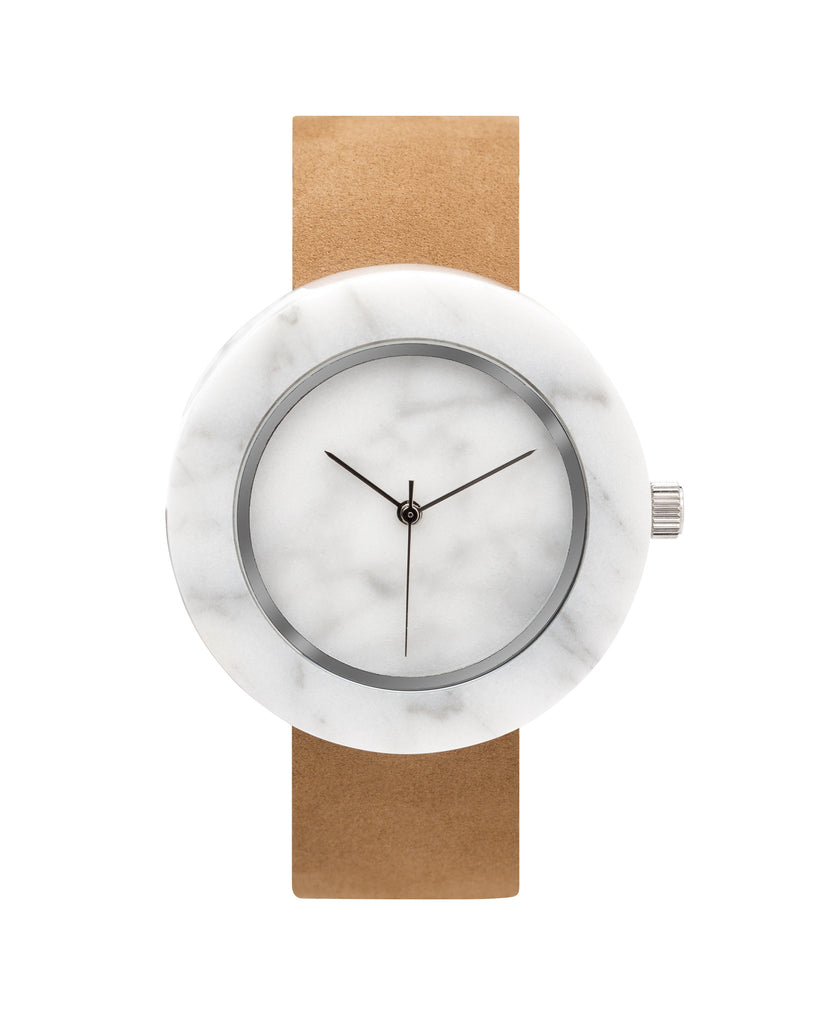 Solid white marble watch with silver finishing and a premium tan leather strap