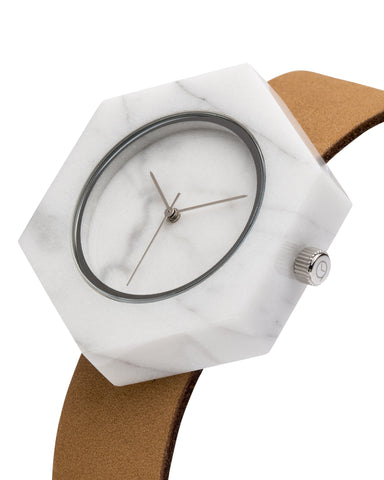 Unisex solid white marble hexagon watch with silver finishing and premium tan leather strap