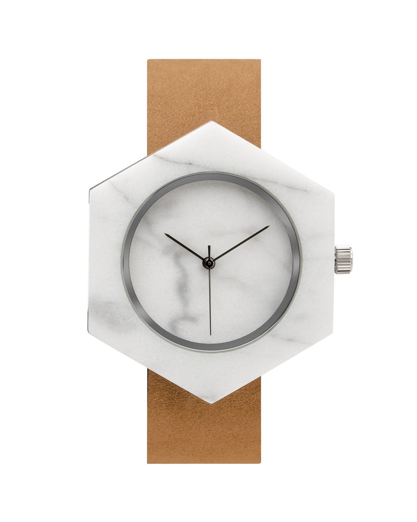 White Marble Hex Mason Watch