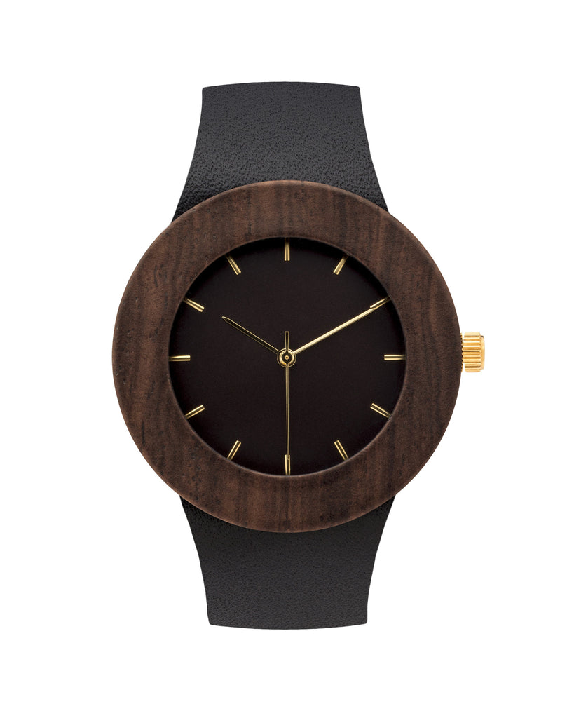 Genuine blackwood wristwatch with premium black leather strap