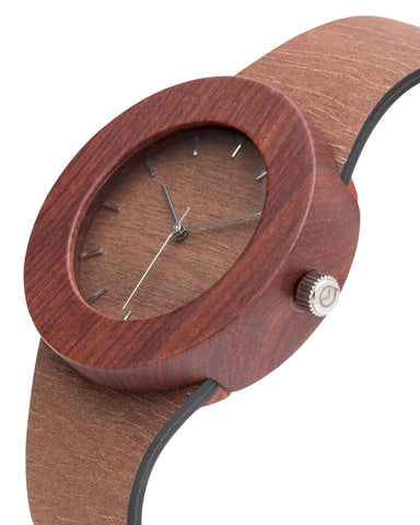 Genuine makore and red sanders wood wristwatch with soft flexible wooden strap