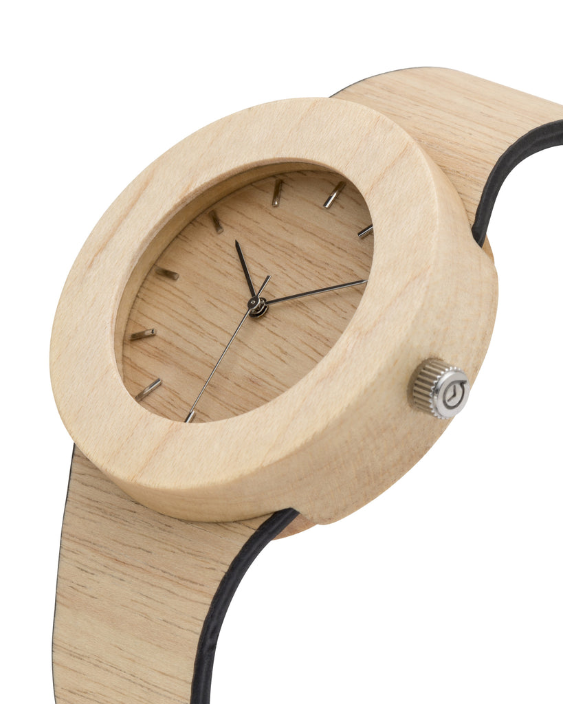 Genuine silverheart and maple wood watch with soft flexible wooden band