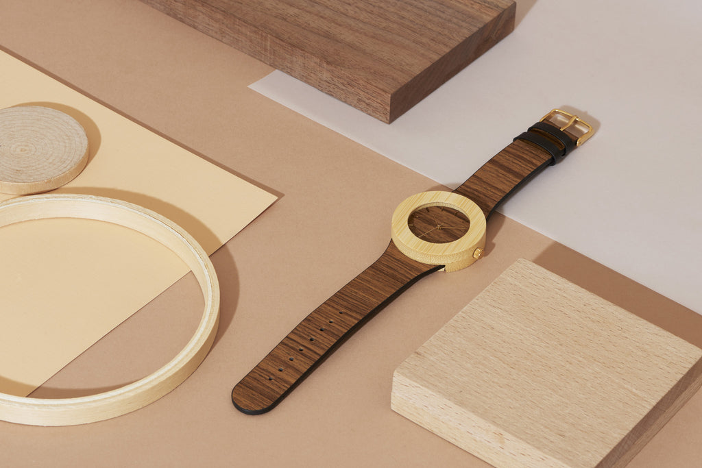 Genuine teak and bamboo wooden watch with the world's first soft flexible wooden band
