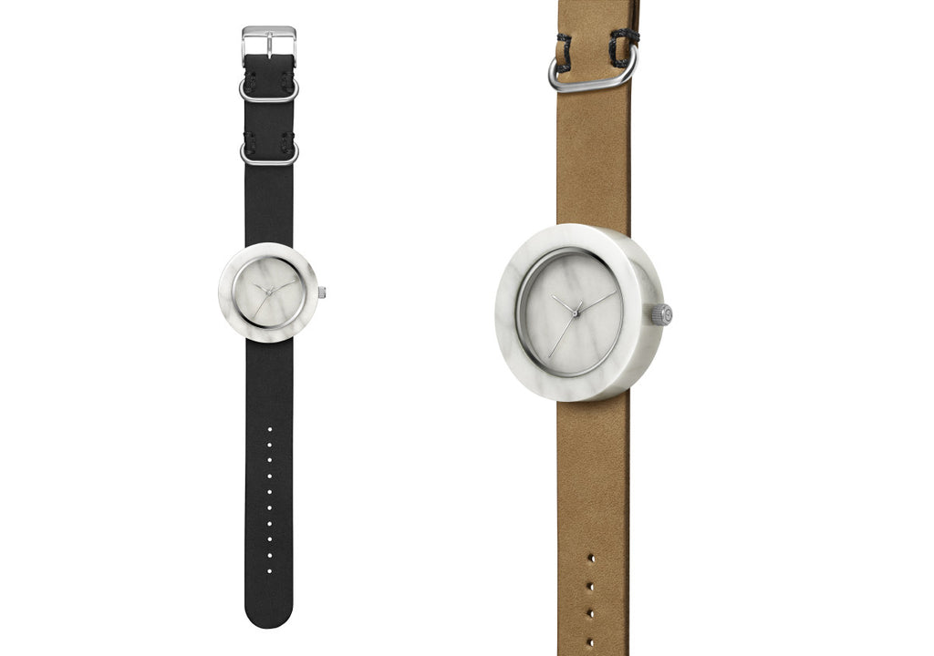 Solid white marble watch with silver finishing and a premium leather strap