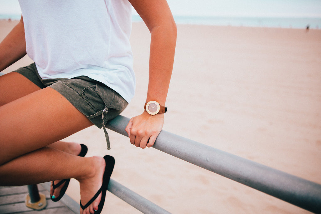 Unisex teak and bamboo wooden watch for the outdoor lover
