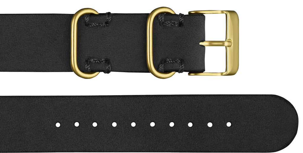 Affordable premium black leather nato style strap with gold