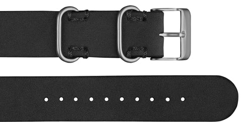 Affordable premium black leather nato style strap