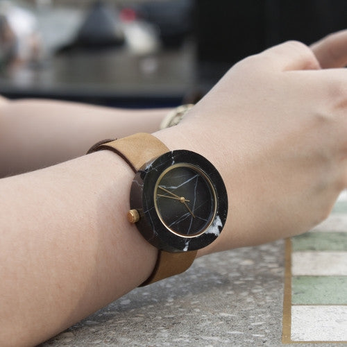 Unisex solid black marble wristwatch for the minimalist design enthusiast