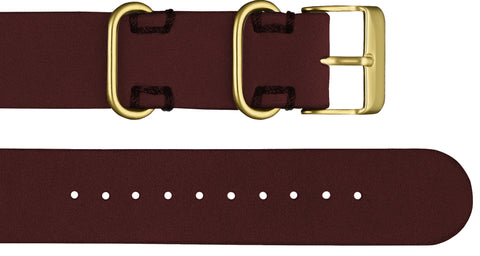 Affordable premium cherry leather nato style strap