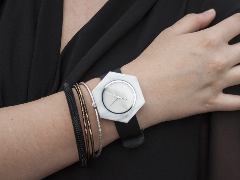 Unisex white marble hexagon wristwatch for design enthusiasts