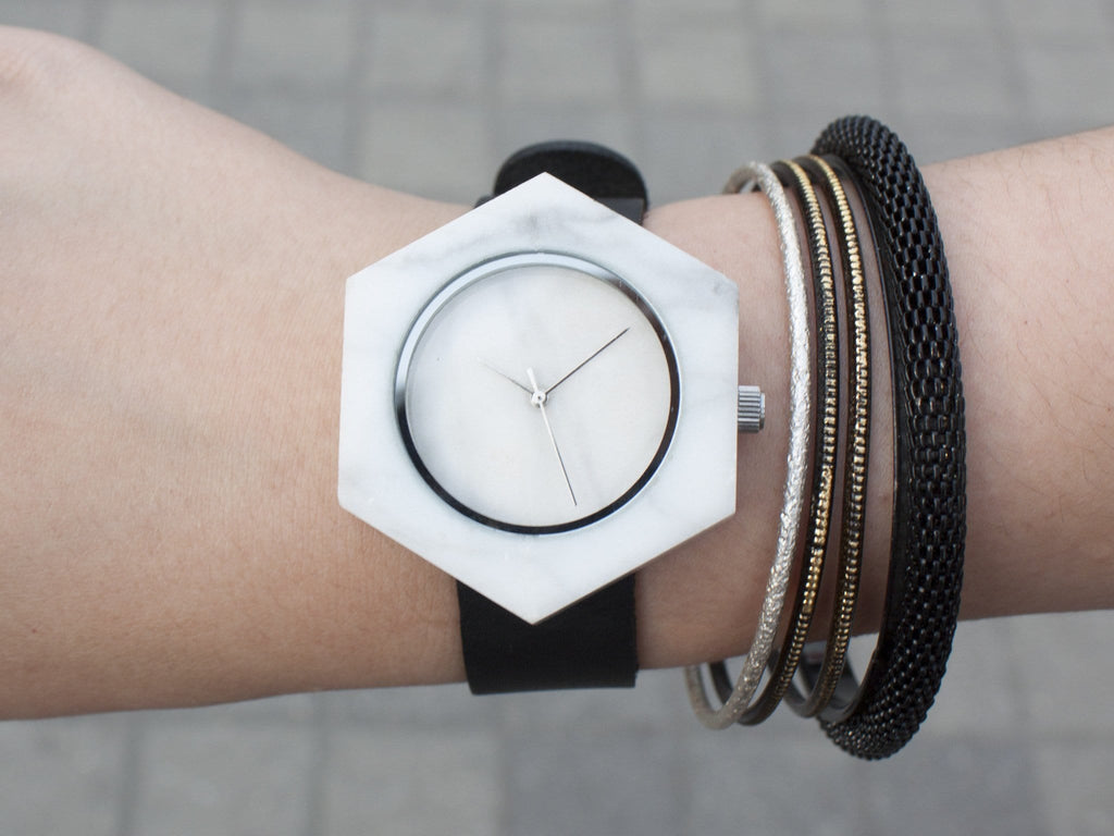 Unisex white marble hexagon wristwatch for fashion enthusiasts