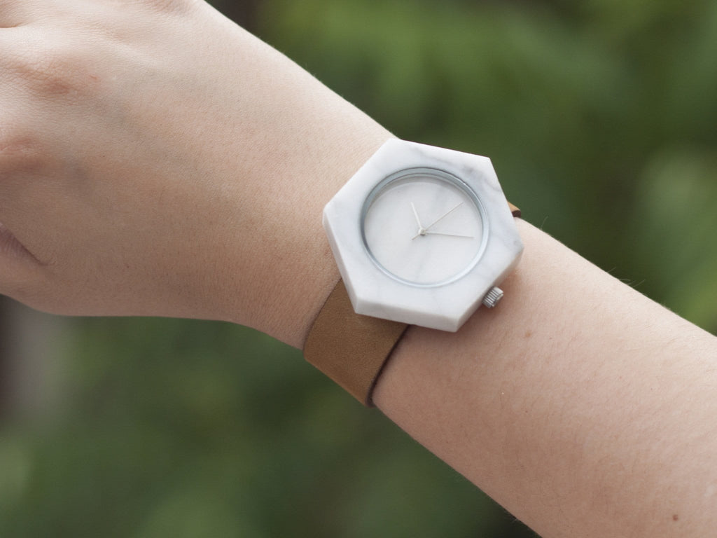 Unisex white marble hexagon wristwatch for nature enthusiasts