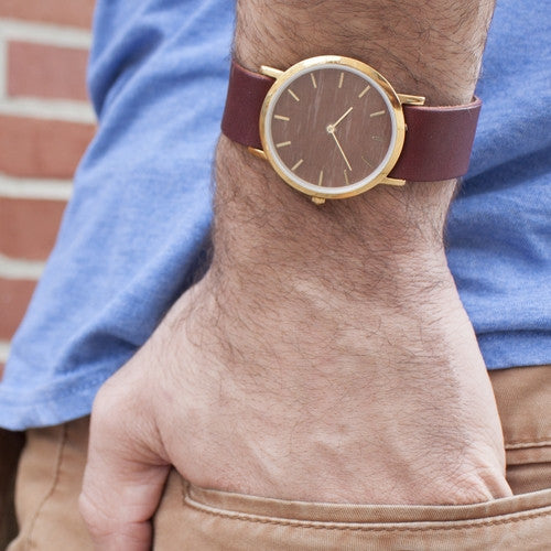Unisex wristwatch with genuine makore wood dial face for the minimalist nature lover