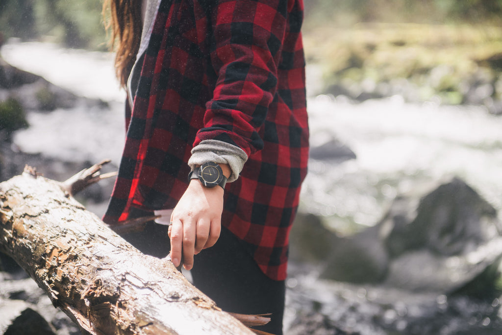 Solid black marble wristwatch for the outdoor adventurer and the minimal nature lover
