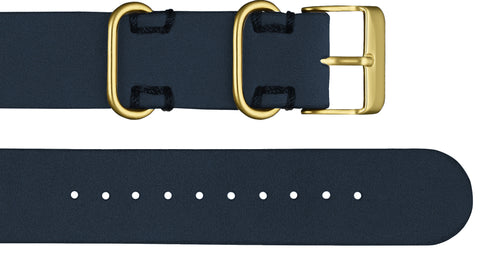 Affordable premium navy leather nato style strap with gold