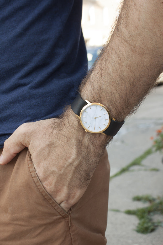 Unisex white marble watch with interchangeable straps for the minimal fashion lover