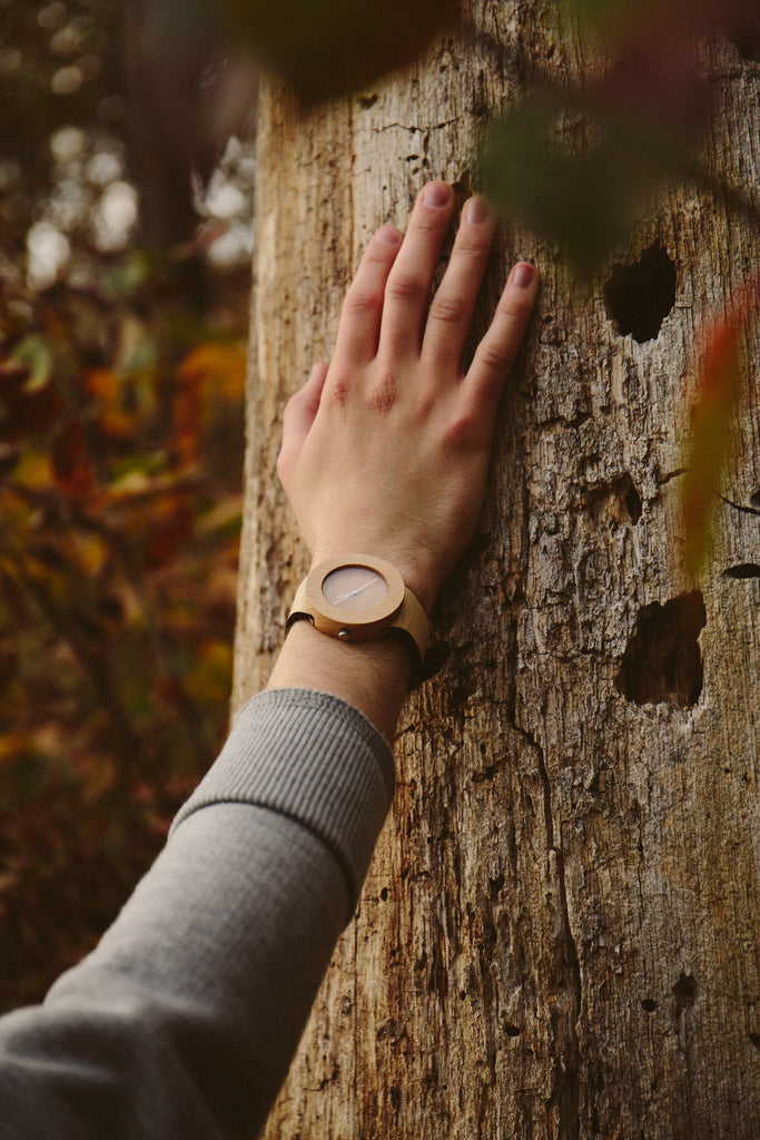 Silverheart and maple wooden watch outdoors with nature