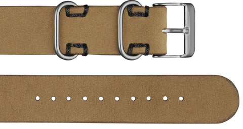 Affordable premium tan leather strap with silver finishing
