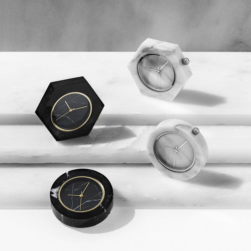 Solid black and white marble watches with gold and silver finishing