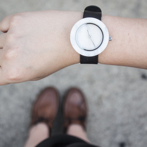 Unisex solid white marble circular watch for the minimal fashion enthusiast