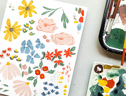 Hoep Johnson's handpainted ditsy florals.