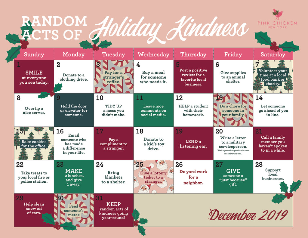 Random Acts of Holiday Kindness Calendar for December 2019. Click this to save and print, follow along all season long!