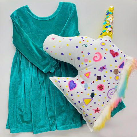 turquoise velour dress and craft
