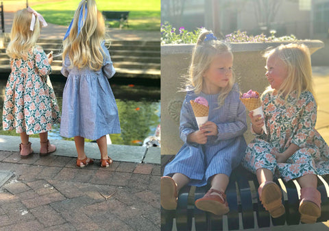 Mller and Margot eat ice cream and feed ducks in the park while wearing their Fall Pink Chicken dresses.