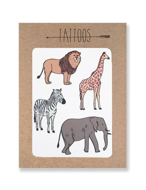 Pink Chicken Tattoo / Safari Temporary Tattoos Pack