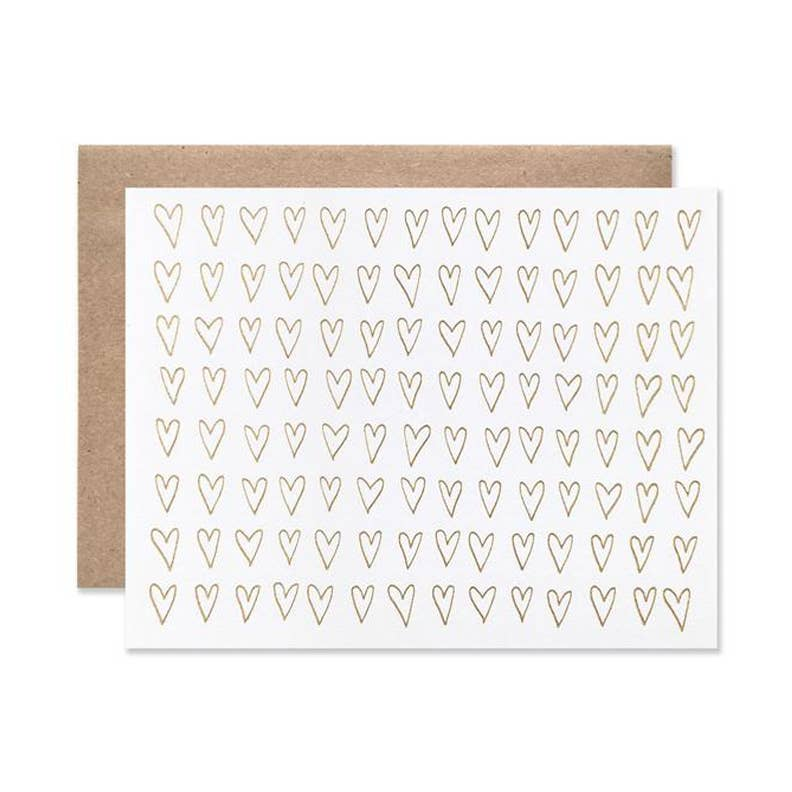 Pink Chicken Gold Foil Hearts Card