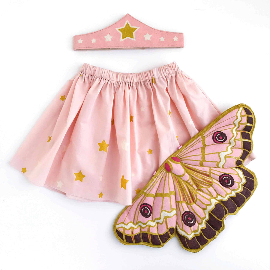Pink Chicken Butterfly Wing, Skirt, Tiara Gift Set 2/3y