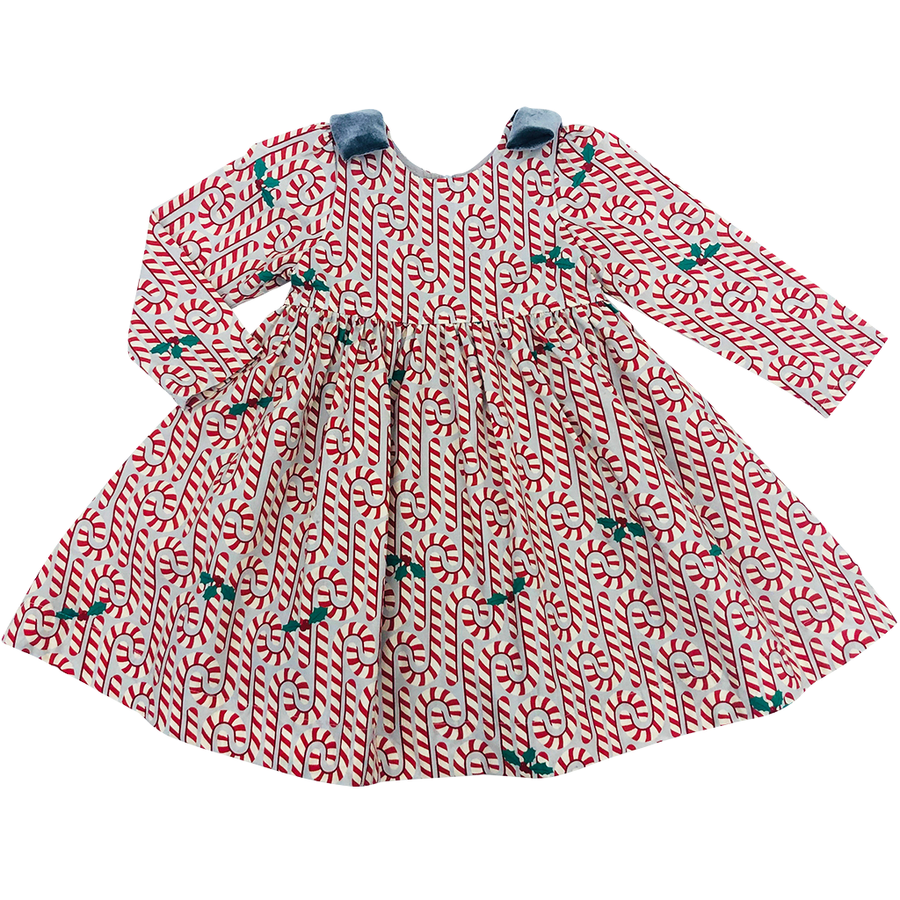 Pink Chicken Erin Dress 2y light gray candy canes - 19hpc359a
