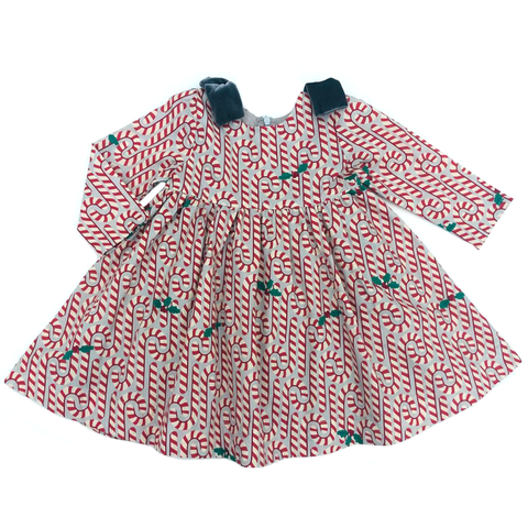 Pink Chicken Erin Dress 3/6m light gray candy canes - 19hpcb502a