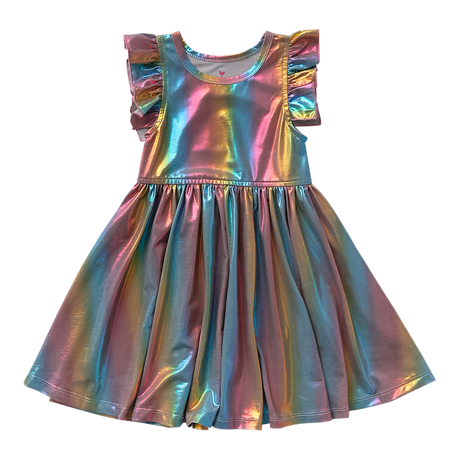 Pink Chicken Ruffle Steph Dress 2Y iridescent rainbow