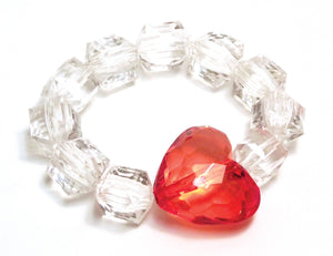 Pink Chicken Heart Rock Candy Bracelet Clear/Red